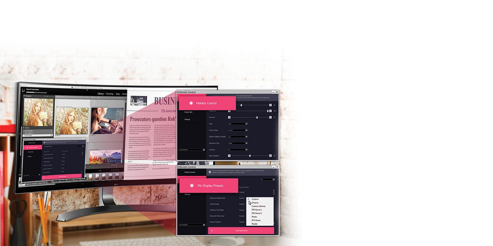 Màn hình LG 34UC98 với công nghệ On-screen control